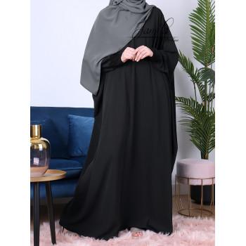 Abaya Papillon - Noir - Microfibre Léger - Jamila