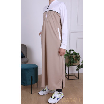 Qamis Long Junior - Beige et Blanc Manches Longues Qaba'il : Ezox