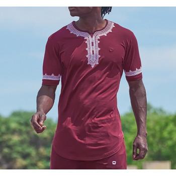 T-Shirt Etniz Bleu Clair - Motif Oriental Brodé - Qaba'il : manches courtes