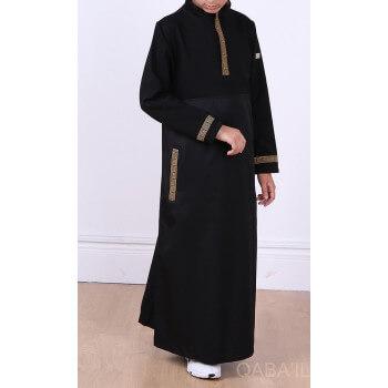 Qamis Noir Long Brodé Doré - Manches Longues Qaba'il : Eminence