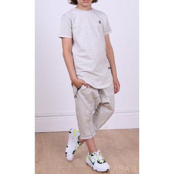Ensemble Nautik Kid - Gris Chiné - Sarouel + T-Shirt de 3 à 16 ans - Qaba'il