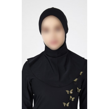 Hijab Multisport - Bonnet Intégré - Noir - Plage et Sport