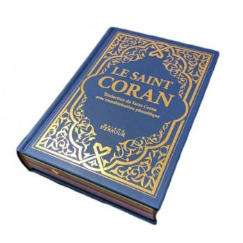 Le Saint Coran Bleu Nuit Doré - Couverture Daim - Pages Arc-En-Ciel - Français-Arabe-Phonétique - Maison Ennour