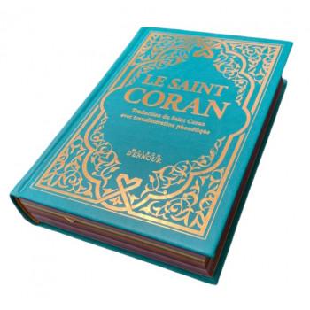 Le Saint Coran Vert Canard Doré - Couverture Daim - Pages Arc-En-Ciel - Français-Arabe-Phonétique - Maison Ennour