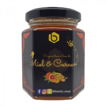 Miel et Curcuma et Mandarine Rouge - Miel 100% Naturel de France - 240 gr - Beelal