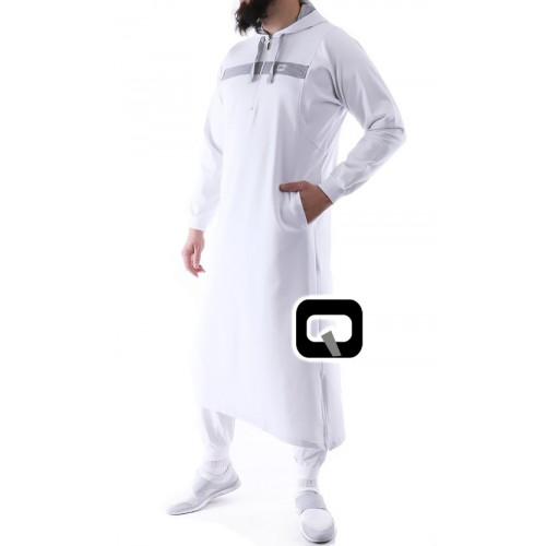 Qamis jogging long blanc Vortex
