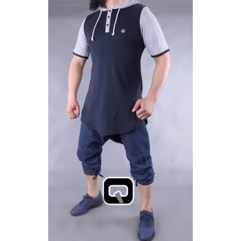 pantacourt qaba'il jean foncé