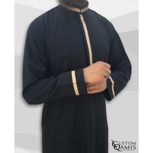 Custom qamis trend noir et beige