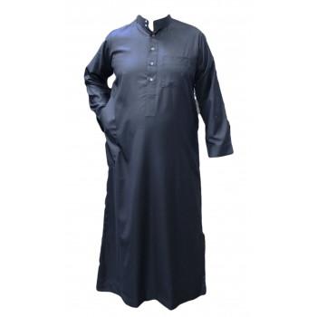 Qamis Bleu Gris - Tissu Léger et Raffiné Style Costard - Manche Longue - Al Hattami - Arabie Saoudite - 201 15