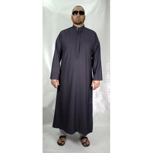 Qamis Gris Anthracite Afaq - Style Haramain ou Daffah - 2730