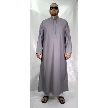 Qamis Gris Claire Afaq - Style Haramain ou Daffah - 2732