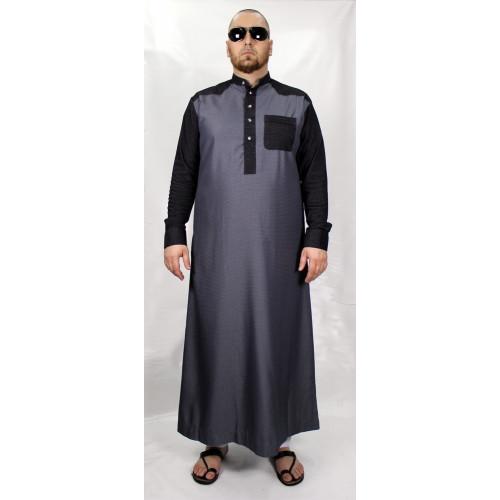 Qamis Gris Foncé Afaq - Avec Manche en Strech - Style Haramain ou Daffah - SB1