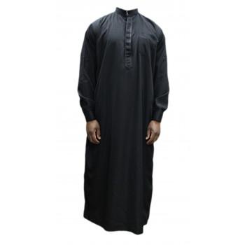 Qamis Noir - Col et Boutton au Manche avec Pantalon Coupe Droite - Afaq - AN1