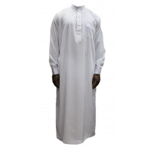 Qamis Blanc - Col et Boutton au Manche avec Pantalon Coupe Droite - Afaq - 3734