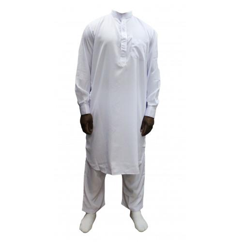 Qamis Pakistanais Blanc - Col et Boutton au Manche avec Pantalon Coupe Droite - Afaq - 3737