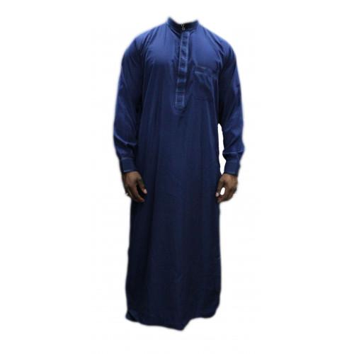 Qamis Bleu Foncé - Col et Boutton au Manche avec Pantalon Coupe Droite - Afaq - 3739