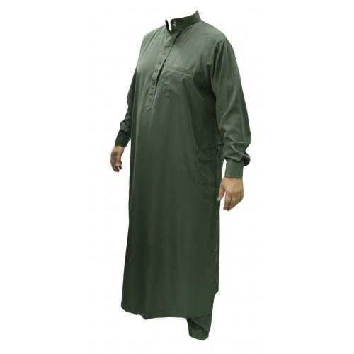 Qamis Vert Sauge Foncé - Col et Boutton au Manche avec Pantalon Coupe Droite - Afaq - AV1