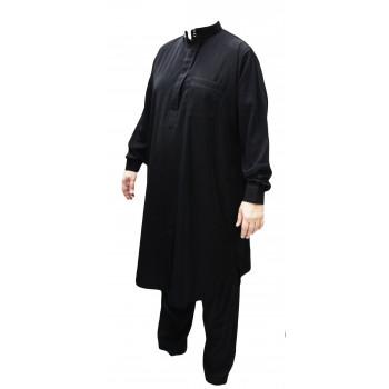Qamis Pakistanais Noir - Col et Bouton au Manche avec Pantalon Coupe Droite - Afaq - APN1
