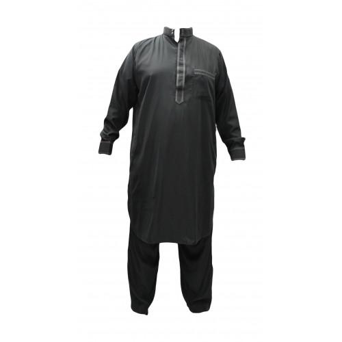 Qamis Pakistanais Gris Anthracite - Col et Boutton au Manche avec Pantalon Coupe Droite - Afaq - APG1