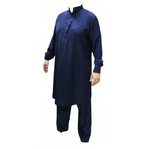 Qamis Pakistanais Bleu - Col et Boutton au Manche avec Pantalon Coupe Droite - Afaq - 4243