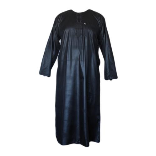 Qamis Noir AFAQ - Manche Longue - Sans Col - Tissu Glacé - 4479