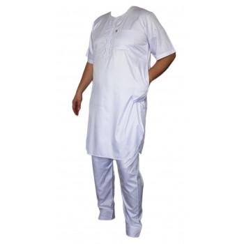 Qamis Afaq - Ensemble Pakistanais Manche Courte avec Pantalon - Blanc - 5935