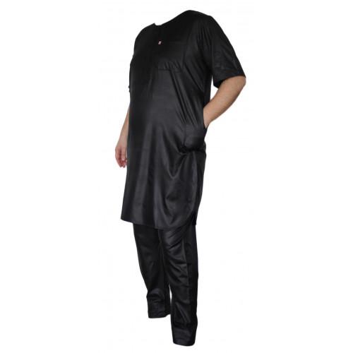 Qamis Afaq - Ensemble Pakistanais Manche Courte avec Pantalon - Noir - 5936