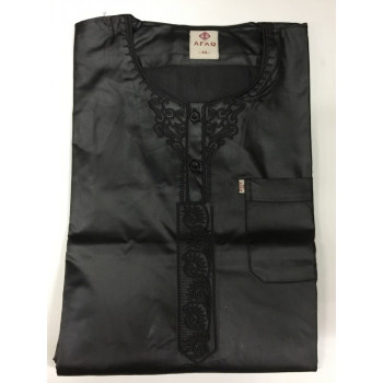 Qamis Afaq - Adolescents Noir - Manche Courte + Pantalon - Sans Col - Tissu Glacé - du 36 au 50 - 4516