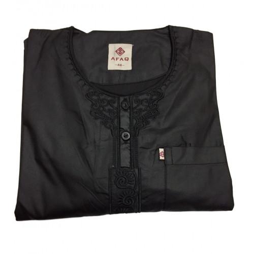 Qamis Adolescents - Noir - Manche Longue + Pantalon - Sans Col - Tissu Glacé - Afaq - 5610