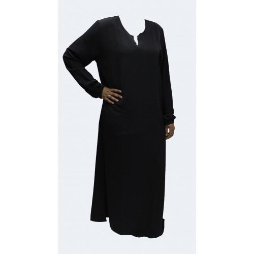 Robe El Bassira - Modèle He - Tissus Wool Peach n°1 - Couleur Unis - Noir - HE1W
