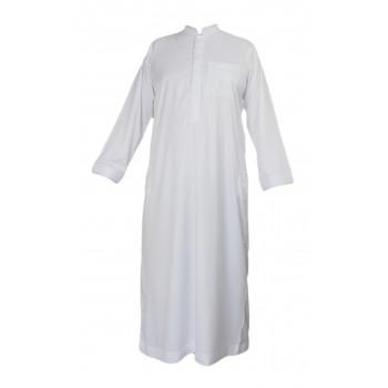 Qamis Blanc Avec Broderie - Tissu Raffiné Glacé - Manche Longue - Al Hattami - Arabie Saoudite - 2080107