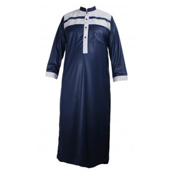 Qamis Bleu Bicolor - Tissu Raffiné Glacé - Manche Longue - Al Hattami - Arabie Saoudite - 23308