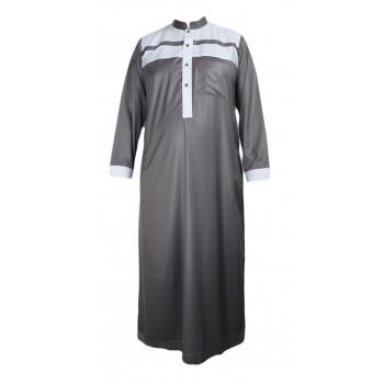 Qamis Gris Bicolor - Tissu Raffiné Glacé - Manche Longue - Al Hattami - Arabie Saoudite - 23307