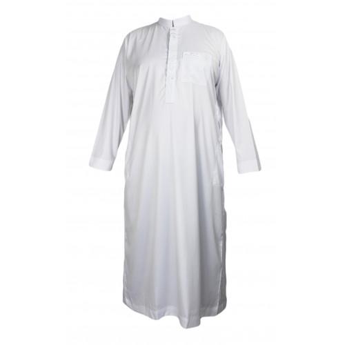 Qamis Blanc avec Calligraphie - Tissu Raffiné Glacé - Manche Longue - Al Hattami - Arabie Saoudite - 2530102