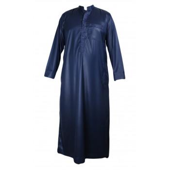 Qamis Bleu Nuit avec Calligraphie - Tissu Raffiné Glacé - Manche Longue - Al Hattami - Arabie Saoudite - 2530802