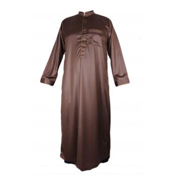 Qamis Marron Avec Broderie - Tissu Raffiné Glacé - Manche Longue - Al Hattami - Arabie Saoudite - 2080907