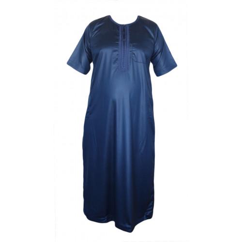 Qamis Bleu Nuit - Tissu Raffiné Glacé - Manche Courte - Al Hattami - Arabie Saoudite - 5974