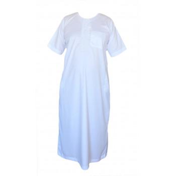 Qamis Blanc - Tissu Raffiné Glacé - Manche Courte - Al Hattami - Arabie Saoudite - 5975