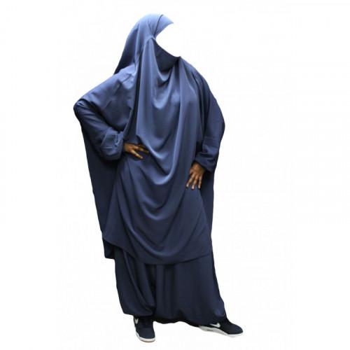 Jilbeb El Bassira - 2 Pièces : Cape + Sirwal - Tissus Koshibo - n°22 - Bleu Petrole - A2S22K