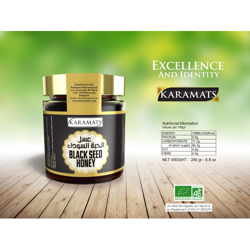 Miel de Forêt 100% Naturel avec Graine de Nigelle - Black Seed Honey - Karamats - 250 gr