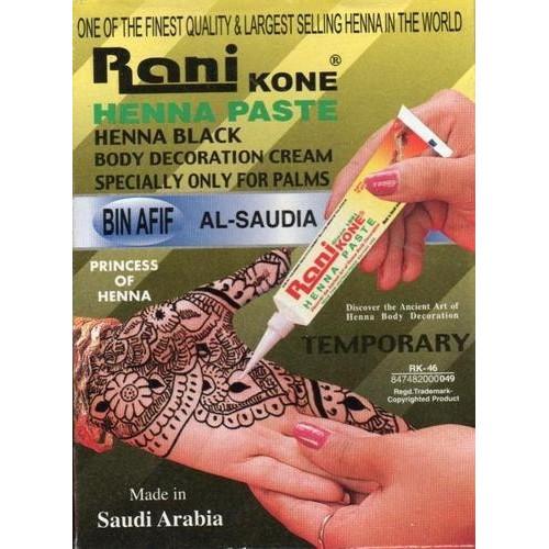 Henné - Pâte de Henna Naturel en Tube Rani Kone Stylo Noir