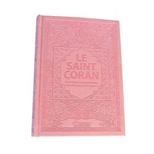 Le Saint Coran - Arabe / Français / Phonétique - Edition De Luxe - Couverture En Daim Couleur Rose Pâle