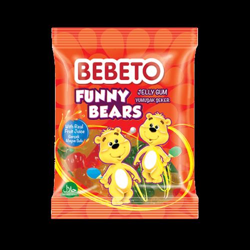 Bonbons Funny Bears - Fabriqué avec du Vrai Jus de Fruit - Bebeto - Halal - Sachet 80gr