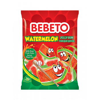 Bonbons Watermelon - Goût Pastèque - Fabriqué avec du Vrai Jus de Fruit - Bebeto - Halal - Sachet 80gr