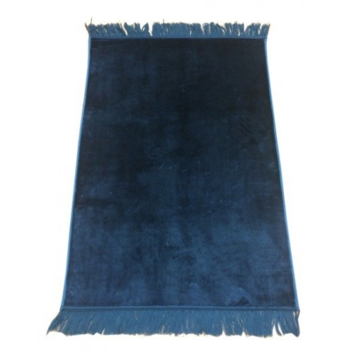 Grand Tapis de Prière - Bleu Pétrole - Sans Motif - Molletonné, Épais et Trés Doux - Confortable et Anti-Dérapant