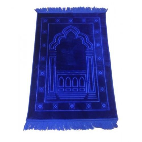 Grand Tapis de Prière - Bleu Roi - Motif Mirhab - Molletonné, Épais et Trés Doux - Confortable et Anti-Dérapant