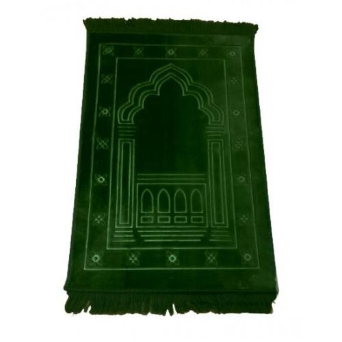 Grand Tapis de Prière - Vert - Motif Mirhab - Molletonné, Épais et Trés Doux - Confortable et Anti-Dérapant