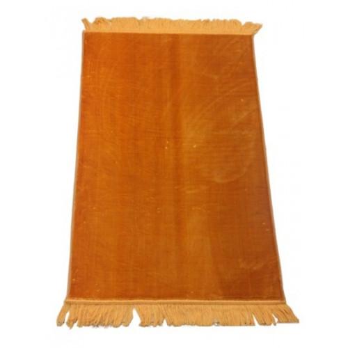 Grand Tapis de Prière - Orange - Sans Motif - Molletonné, Épais et Trés Doux - Confortable et Anti-Dérapant