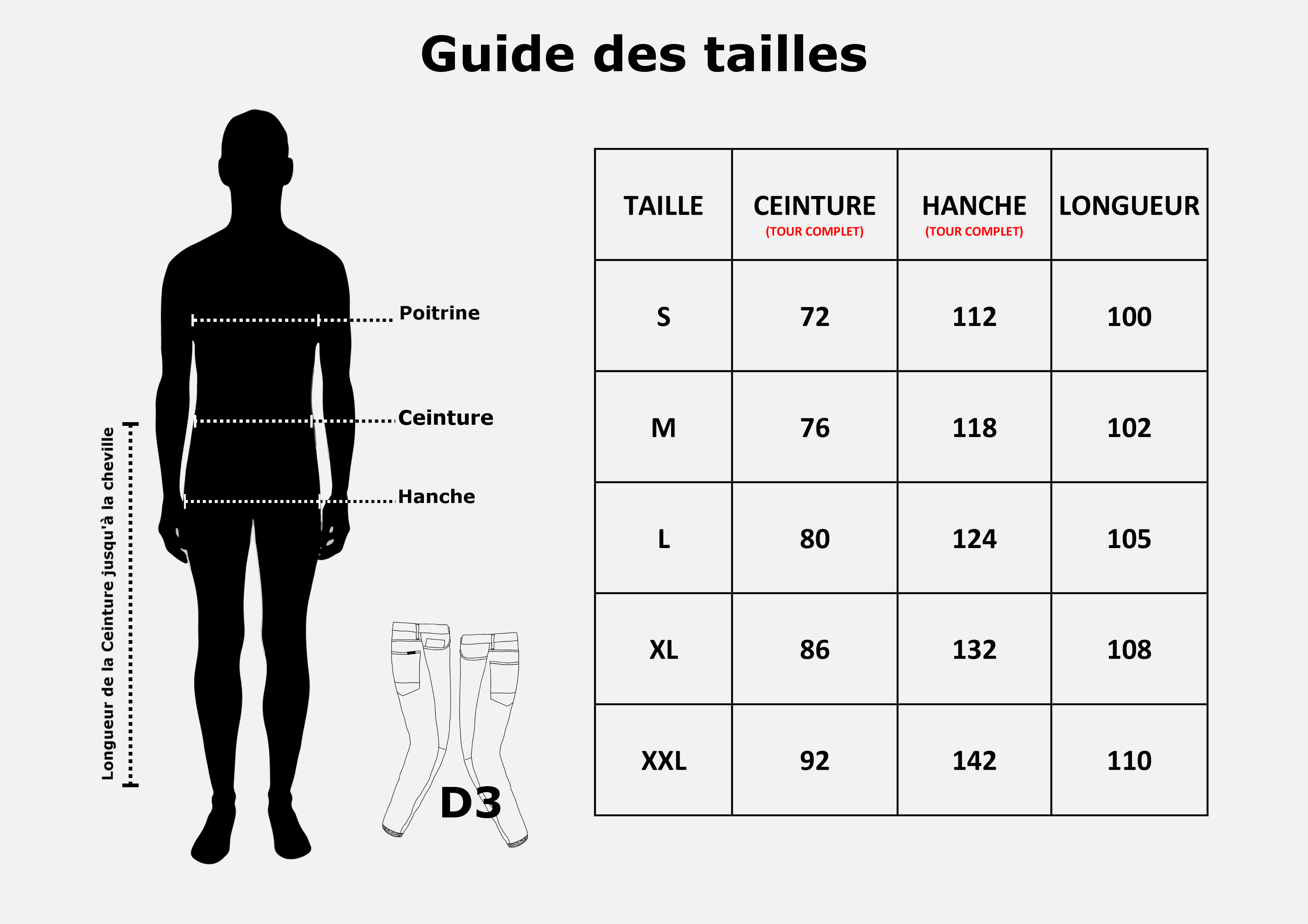 Guide des Tailles Timssan